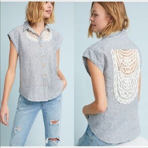 NWT Maeve by Anthropologie Linen/Lace top